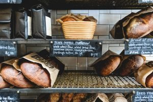 Bakery shelves with bread